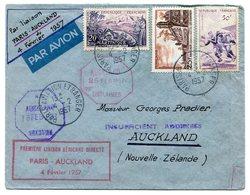 RC 11704 FRANCE 1957 LETTRE 1er VOL PARIS AUCKLAND Nelle ZELANDE FFC - Storia Postale