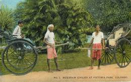 Sri Lanka - Ceylon - Colombo - Rickshaw Coolies At Victoria Park - état - Sri Lanka (Ceylon)