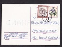 Austria: Stationery Postcard, 1989, Extra Stamp, Flower, Gulf Aid Cancel (minor Damage) - 1945-.... 2de Republiek
