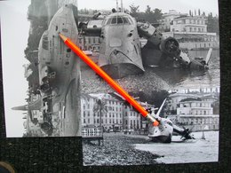 3 FOTOGRAFIE  IDROVOLANTE SHORT SOLENT Spiaggiato A S.MARGHERITA LIGURE SETT.1956 - Aviation