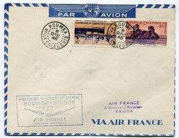RC 11709 Nelle CALEDONIE 1948 LETTRE NOUMÉA SAIGON PAR SYDNEY AIR FRANCE FFC - Cartas
