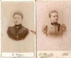 Lot De 2 Photographies Anciennes, Jeune Femme Par Dupont à Hazebrouck Et Mouth à Lille (59), Photos Cdv Vers 1900 - Anciennes (Av. 1900)