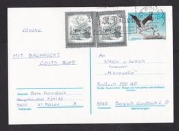 Austria: Stationery Postcard To Germany, 1990, 2 Extra Stamps, Stork Bird (minor Crease) - 1945-.... 2de Republiek