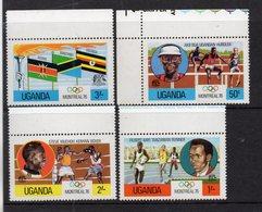 UGANDA 1976 OLYMPIC GAMES MONTREAL Issue FULL SET FOUR Stamps Marginal MNH. - Uganda (1962-...)