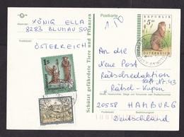 Austria: Stationery Postcard To Germany, 1995, 2 Extra Stamps, Endangered Animal, Marmot, Suslik (minor Crease) - 1945-.... 2de Republiek