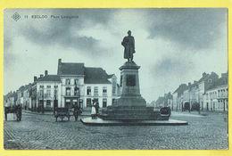 * Eeklo - Eecloo (Oost Vlaanderen) * (SBP, Nr 12) Place Ledeganck, Statue, Belle Animation, Char, Estaminet Eggermont - Eeklo