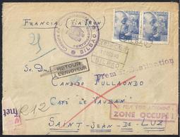 1940. CERTIFICADO BILBAO A SAN JUAN DE LUZ (FRANCIA). DEVUELTA AL REMITENTE. MAGNÍFICA Y RARA. - 1931-Hoy: 2ª República - ... Juan Carlos I