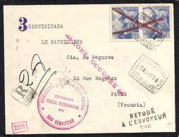 1940. CERTIFICADO SAN SEBASTIAN A PARIS. DEVUELTA AL REMITENTE. ED. 70 CTS. AZUL ED. 929 (2). MAGNÍFICA Y RARA. - 1931-Hoy: 2ª República - ... Juan Carlos I