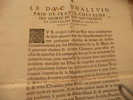 Affiche Placard 2 X A4 Environs Ordonnance Duc D'Halluin Schomberg Languedoc 29/03/1635 Mobilisation Guerre - Décrets & Lois