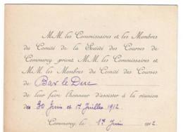 Commercy  Sociéyé Des Courses  1912  Invitation - Vieux Papiers