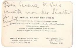 Madame Bérot Beger Croix Rouge ...  Saint Quentin Et Paris   CDV - Autographes