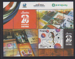 Paraguay (2018) - Block -   /  Culture - Books - Stamp On Stamp - Literacy - Stamps On Stamps