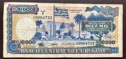 URUGUAY P67 10000  NOUV PESOS ND 1987 VG - Uruguay