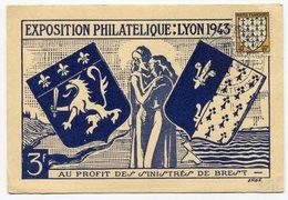 RC 11714 FRANCE 1943 EXPOSITION PHILATELIQUE DE LYON AU PROFIT DES SINISTRÉS DE BREST - Covers & Documents