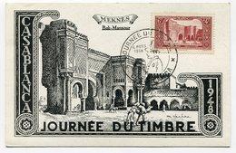RC 11715 MAROC 1948 JOURNÉE DU TIMBRE CASABLANCA CARTE MAXIMUM - Marokko (1891-1956)