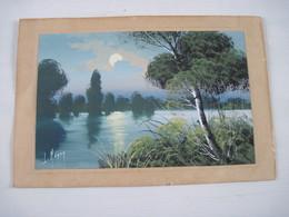 Gouache Sur Papier Paysage A Retrouver Signé L. HENON Artiste Peintre Montfermeil 16.5 X 25 Cm - Aquarel