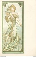 """A. MUCHA -""""PRINTEMPS - FEMME  & FLEURES """"- édit; F. Champenois - Paris - 1900 - NON VOYAGEE - CPA Très Bel Etat** - Mucha, Alphonse"""