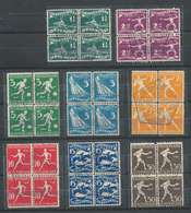 DC-1639 OLYMPICS AMSTERDAM 1928 NETHERLANDS - COMPLETE SERIES OF 8 STAMPS - ALL BLOCK OF 4 - ALL HEXAGONAL POSTMARK RR - Summer 1928: Amsterdam