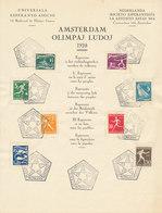 DC-1641 OLYMPICS AMSTERDAM 1928 NETHERLANDS - COMPLETE SERIES ON ESPERANTO SHEET - UNFOLDED RARE -  HEXAGONAL POSTMARK - Summer 1928: Amsterdam