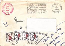 Lettre TAXEE, Flamme REIMS De 1985 + Fédération Nationale Des Retraités De La Gendarmerie De La Marne - Marcophilie (Lettres)
