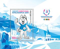 "Russia, 2019, UNIVERSIADE,Winter Sport, Mascot Dog ""lajka"" Block S/s - Blocks & Kleinbögen"