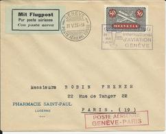 SF 25.4.a, Genève - Paris, Obl. Genève 31.V.25, Meeting International Aviation, F9, Cachet Poste Aérienne Rouge - Autres Documents