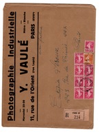 Lettre (presque A4) Recommandée à En-tete PHOTOGRAPHIE INDUSTRIELLE VAULE à PARIS - 1921-1960: Modern Period