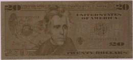 Billet De 20 Dollars Plaqué Or (Andrew Jackson 7ème Président Des Etats Unis Et Maison Blanche) (Recto-Verso) - Etats-Unis