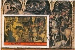 """Ajman 1972 Mi. """"Adorazione Dei Magi"""" Quadro Dipinto Da Gentile Da Fabriano Sheet CTO Painting Tableau - Ajman"""