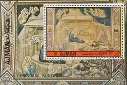 "Ajman 1972 ""Natività"" Affresco Quadro Dipinto Da Giotto Di Bondone Paintings Tableaux CTO - Ajman"