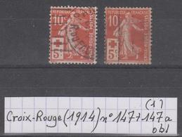 France Croix-Rouge (1914) Y/T N° 147 + 147a Oblitérés à 15% De La Cote (lot 1) - Oblitérés