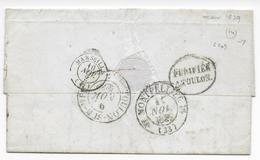 """1839 - MARITIME - LETTRE """"PURIFIEE à TOULON"""" De ORAN (ALGERIE) => MONTPELLIER - SUPERBE - Marcophilie (Lettres)"""