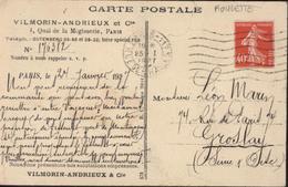 CP Vilmorin Andrieux Paris Repiquée YT 194 Roulette CAD Paris 117 Rue De Sc? 25 1 27 CPA Présentation Chrysanthèmes - Coil Stamps