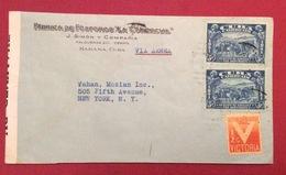 POSTA AEREA PAR AVION CUBA -  U.S.A.  ENVELOPE FABRICA FOSFOROS   FROM HABANA TO NEW YORK  THE 5/6/1944 CENSURATA - Cuba