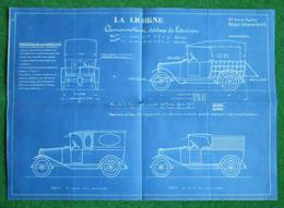 """Plan En Diazographie, En Bleu Sur Fond Blanc, De La Camionnette De Livraison """"La Licorne"""" - Pubblicitari"""