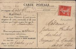 YT 194 Roulette CAD Paris 60 29 X 26 R Dupin Flamme Utilisez Poste Aérienne CP Imprimée Repiquée CPA Magasins Bon Marché - Coil Stamps