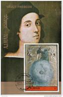 "Ajman 1972 "" Primo Moto"" Affresco Dipinto Raffaello Sanzio Sheet CTO Perf. Paintings Tableaux Urania - Ajman"