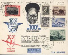 YT Congo Belge 196a CAD Libenge 26 11 38 Retour Belgique YT 421 467 480 486 487 CAD Bruxelles 20 11 38 100eme Vol - Congo Belga