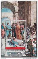 "Ajman 1972 ""Scuola Di Atene"" Affresco Dipinto Raffaello Sanzio Sheet CTO Perf. Paintings Tableau - Ajman"