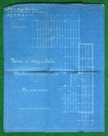 Plan En Diazographie De L'Usine Menot Frères Et Deneuville Sise à Crépy En Valois - Architecture