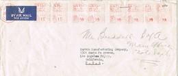 31634. Carta Aerea COLOMBO (Ceylan) 1951, Franqueo Mecanico 6x20 , 2x15 - Sri Lanka (Ceilán) (1948-...)