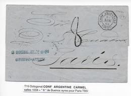 """ARGENTINA - 1865 - MARITIME - LETTRE De BUENOS AIRES Avec OBLITERATION T15 OCTOGONAL PAQUEBOT """"CARMEL"""" => PARIS - Marcophilie (Lettres)"""