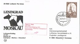 31642. Carta  Aerea Firts Fligth LENINGRAD (Rusia) 1983 To Moscu - Dusseldorf. Boeing 727. Horse, Caballos - Lettres & Documents
