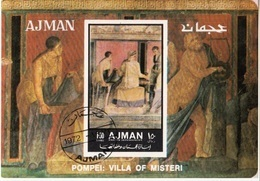 Ajman 1972 Bf. 448B Affreschi Di Pompei Villa Casa Dei Misteri - Iniziazione Ai Misteri Dionisiaci Sheet CTO   Imerf. - Ajman