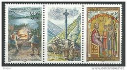 """Andorre YT 543 & 544 + Vignette """" Légende """" 2001 Neuf** - Andorra Francesa"""