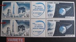 R1949/83 - 1965 - FUSEE DIAMANT / SATELLITE A1 - TRIPTYQUE N°1465A NEUF**  VARIETE ➤➤➤ Nuance Bleue-grise Tenant à Bleue - Unused Stamps
