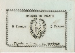 Billete De Necesidad Guerra 5 Francs, BANQUE De FRANCE. Republique - Francia