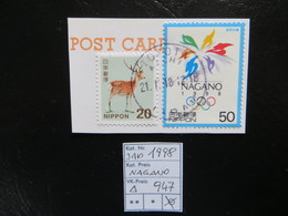 "1998  "" NAGANO "" Auf Ausschnitt, Sauber Gestempelt,   LOT 947 - 1989-... Kaiser Akihito (Heisei Era)"
