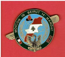 INSIGNE OPEX LIBAN 1985 MOVCON IN BEIRUT 14° MANDAT BEYROUTH ONU FRANCE NORVEGE PELICAN FABRICATION LOCALE - Armée De Terre