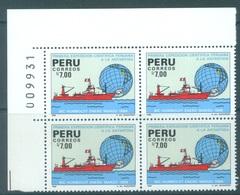 PEROU - MNH/** - 1988  - ANTARCTIQUE -  Mi 1376 BLOC OF 4 - Lot 19069 - Pérou